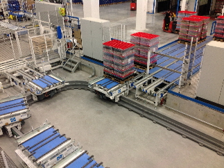 Inverted Monorail System Transfers Single Load Carts in a Closed Loop for Drop-Off at Shipping Staging Lanes
