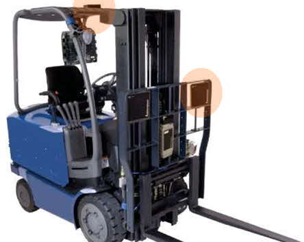 Forklift With RTLS Equipment (photo courtesy of Sky-Trax)