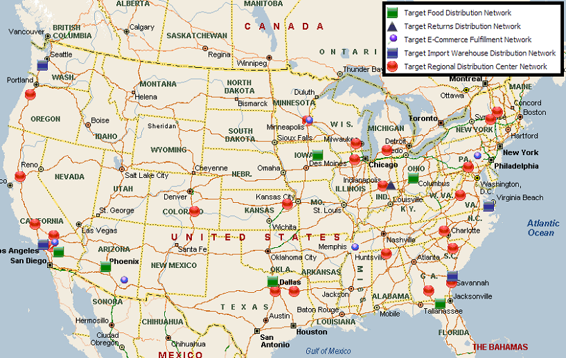 Target Locations Map Target Distribution Center Network | MWPVL