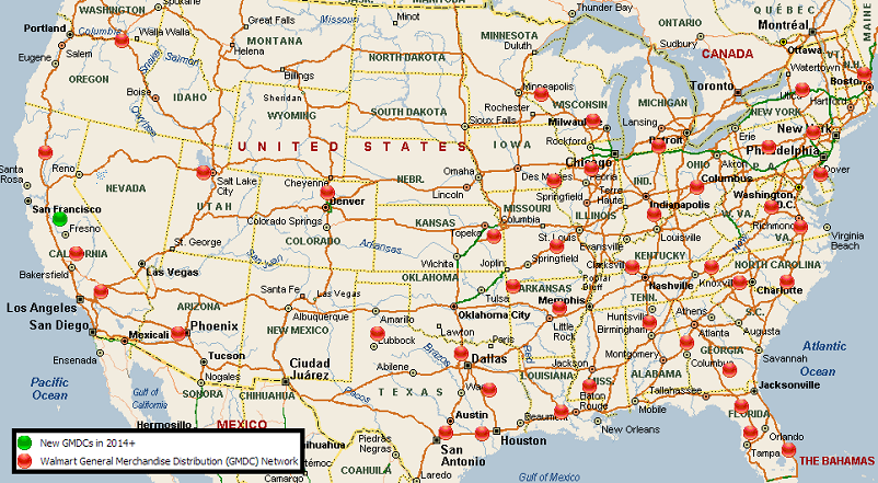 Walmart Distribution Center Network USA MWPVL - Map of walmart locations in us